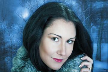 Beautiful woman, a winter portrait