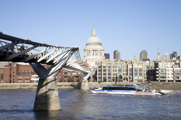 London, UK, Millennium Bridge And St Paul's Cathedral