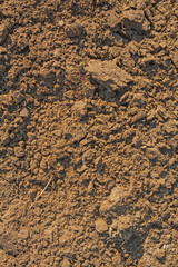 close up view on fresh plouged ground texture
