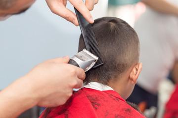 Men's haircut at the beauty salon