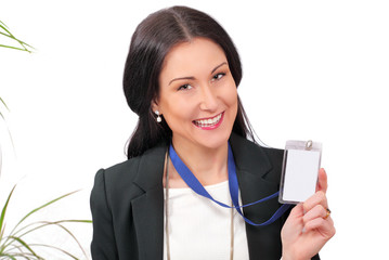 Happy business delegate showing her ID