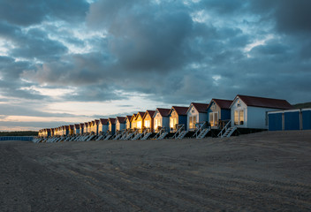 Holland, Beach houses at dusk