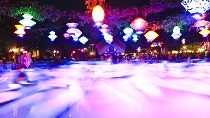 Time lapse of the Teapots ride in Disneyland at night