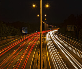 Light trails on motorway