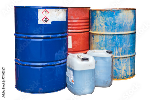 Toxic waste barrels isolated on white - 77402367