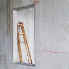 Ladder in building under construction