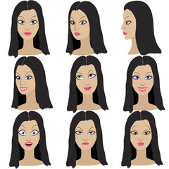 Set of variation of emotions of the same girl with black hair