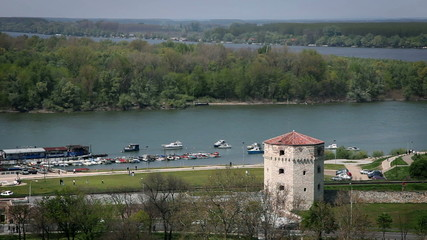 The point where Sava and Donava meets with an old tower in front