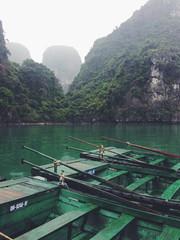 Close up of green rowboats moored in beautiful bay