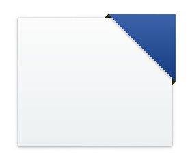 the blank banner with blue corner