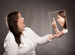 concept of young girl telling off a woman