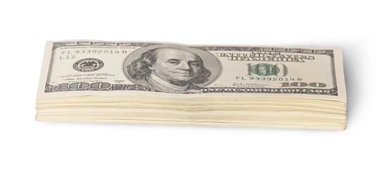 Stack of hundred dollar bills