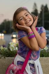Little girl (6-7) smiling