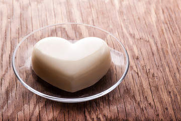 vanilla jelly in the form of heart