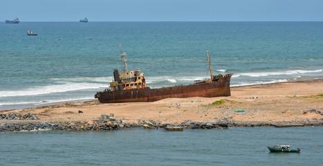 Ship wreck on Africa coast