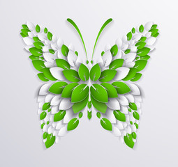 decorative butterfly formed leaves. Paper design