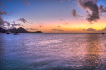 Saint Lucia, Sunset over Rodney Bay