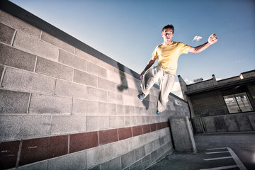 USA, Colorado, Young man free running