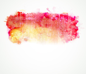 Red and yellow watercolor stain. Vector blob