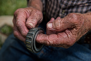 Close up of old farmer's hands