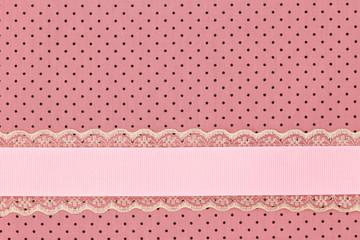 Pink retro polka dot textile background