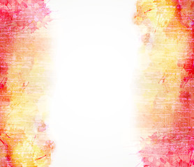 Red and yellow watercolor background. Vector blob