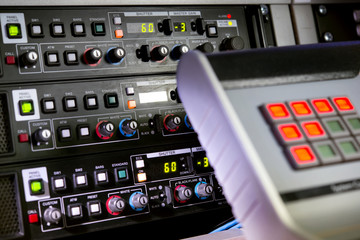 The control panel in the studio recording