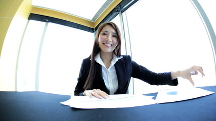 Female Asian Chinese Executive Video Communications Close Up