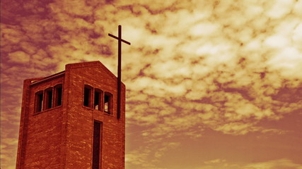 Time lapse of a Christian church against a red cloudy sky