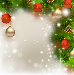 Christmas background with fir tree, cones and evening balls
