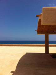 Spain, Terrace of house in Formentera looking to the Mediterranean sea