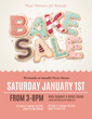 Hand drawn Bake Sale cookies on a flyer or poster template - 77406918
