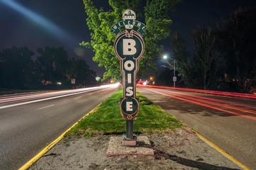 USA, Idaho, Welcome sign in Boise