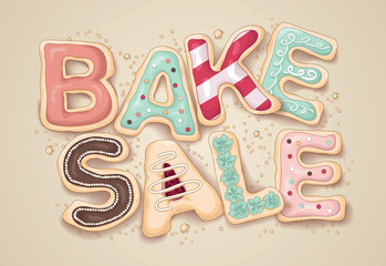 Hand drawn Bake Sale in the shape of cookies