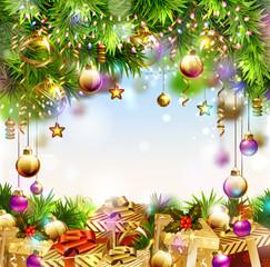 Shine Christmas background with Christmas gifts