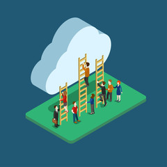 Flat 3d web isometric people using cloud infographic concept