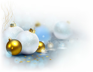 Light background with Christmas baubles