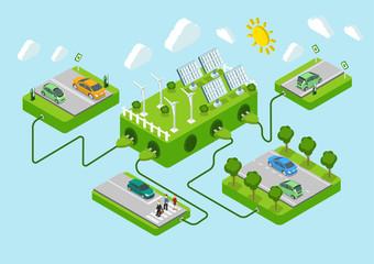 Flat 3d web isometric electric car eco green energy concept