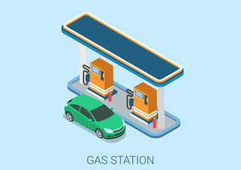 Gas petrol refill station flat 3d web isometric concept