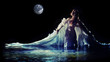 Beautiful white angel is standing in the water. - 77407581