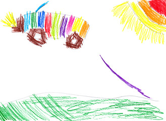 car jumping from the springboard. child drawing