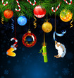 funny numbers of new year hanging from the fir tree