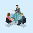 Business negotiations concept flat 3d web isometric infographic - 77407952