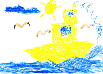 yellow ship and sea bird. child drawing.