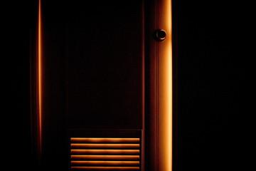 Door shining with orange color
