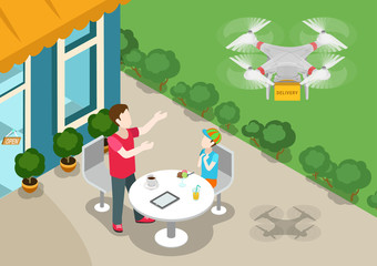 Drone quadcopter delivery concept flat 3d web isometric