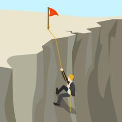 Goal achievement business concept flat 3d web isometric