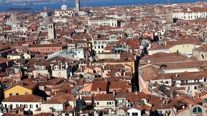 Aerial view of Venice Italy from Campanile St Mark