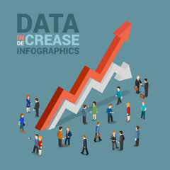 Data increase decrease infographic concept flat 3d web isometric