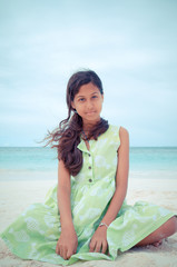 Antigua and Barbuda, Young Girl On Beach